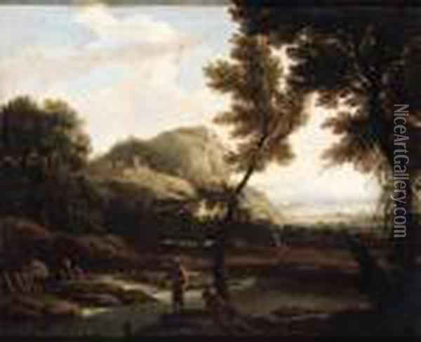 Anglers In An Extensive River Landscape Oil Painting - Jacob Philipp Hackert
