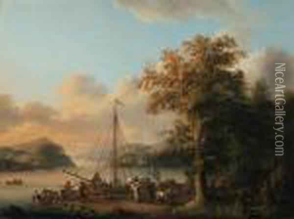 A Swedish River Landscape With Peasants Unloading A Boat Oil Painting - Jacob Philipp Hackert