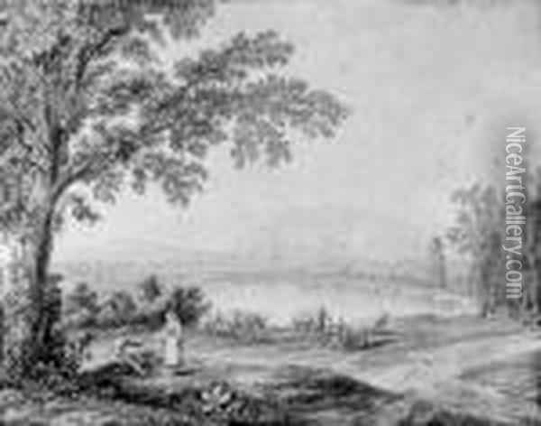 A View Of The Lake At Persano, 