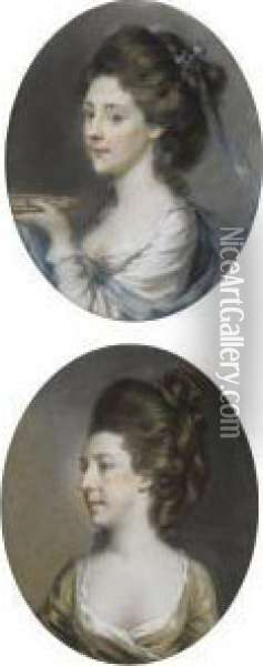 Two Portraits Of Ladies Oil Painting - Hugh Douglas Hamilton