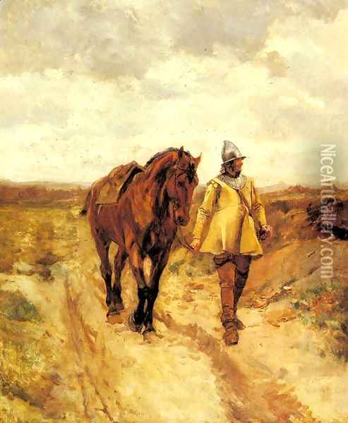 A Man of Arms and His Horse. Oil Painting - Ernest Meissonier