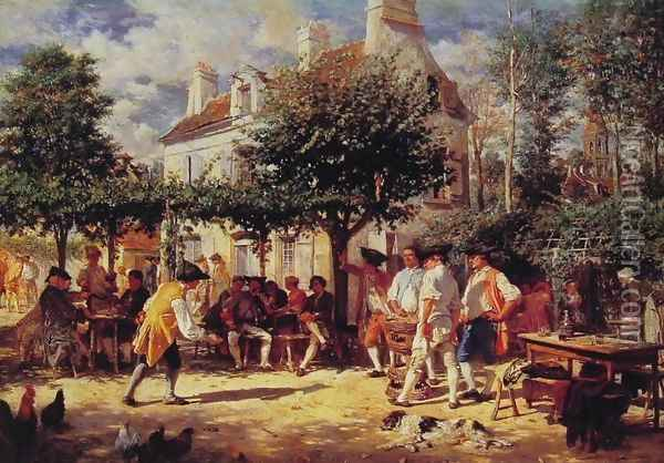 Sunday in Poissy Oil Painting - Ernest Meissonier