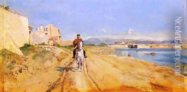 Self-Portrait Along The Route De La Salice, Antibes Oil Painting - Ernest Meissonier