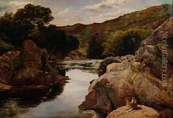 Glenfinlas with Millais Fishing 1853 Oil Painting - William Henry Millais