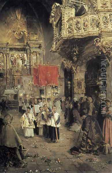 Procession at the End of Mass Oil Painting - Arcadio Mas Y Fondevila