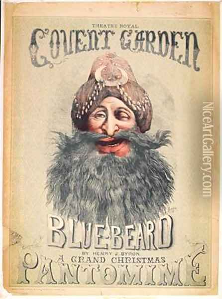 Poster for a Christmas pantomime of Blue Beard Oil Painting - Matthew