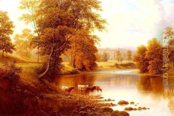 Bolton Abbey, From The Wharfe, Yorkshire Oil Painting - William Mellor