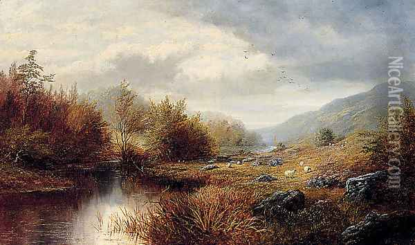 On The Derwent, Derbyshire Oil Painting - William Mellor