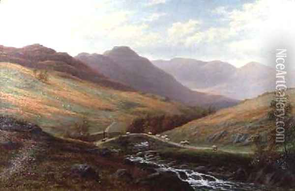 Elter Water and Langdale Pikes Westmorland Oil Painting - William Mellor