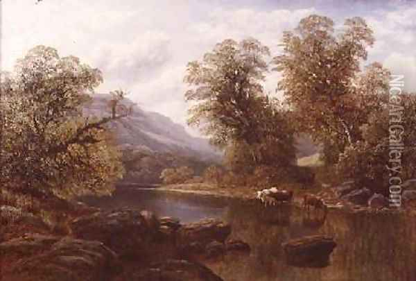 Landscape with a River and Cattle Oil Painting - William Mellor
