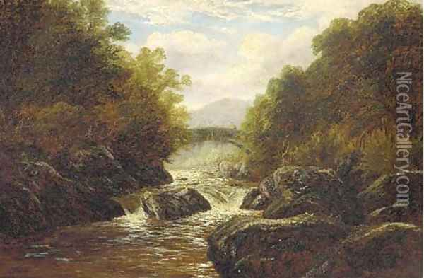 A figure on a bridge in a rocky river landscape Oil Painting - William Mellor