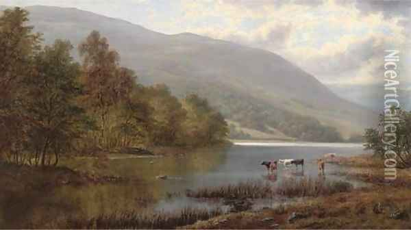 Cattle watering in a river landscape Oil Painting - William Mellor