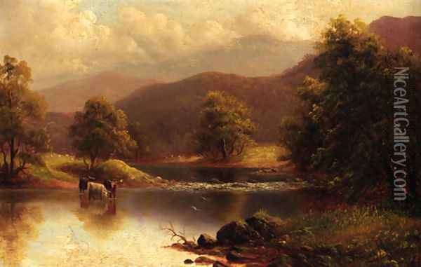 Cattle watering in a tranquil river landscape Oil Painting - William Mellor