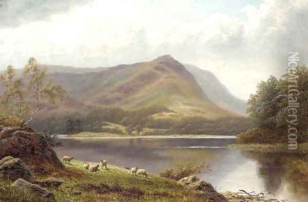 Grasmere Lake from Loughrigg, Westmoreland Oil Painting - William Mellor