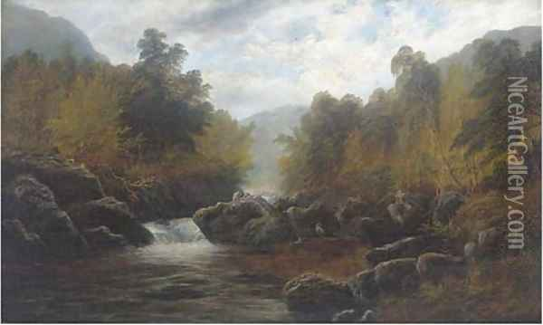 On the Lledr, near Bettws-y-Coed Oil Painting - William Mellor