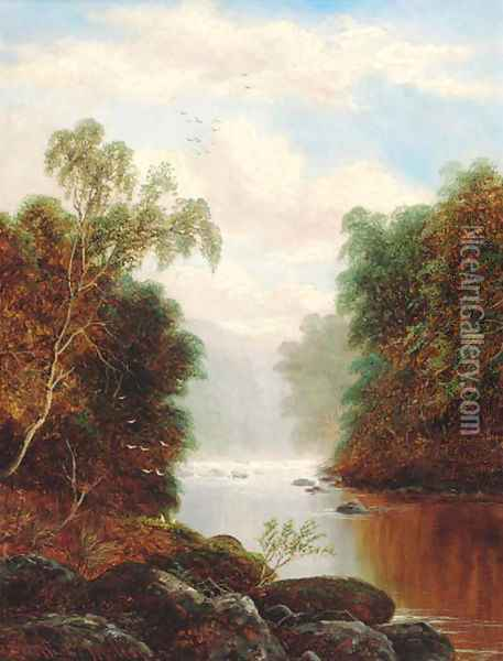 A tranquil wooded river landscape Oil Painting - William Mellor