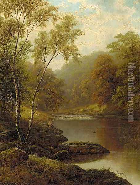 On the Wharf, Bolton Woods, Yorkshire Oil Painting - William Mellor