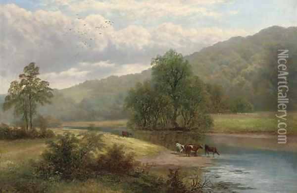 On the Warfe, Yorkshire 2 Oil Painting - William Mellor