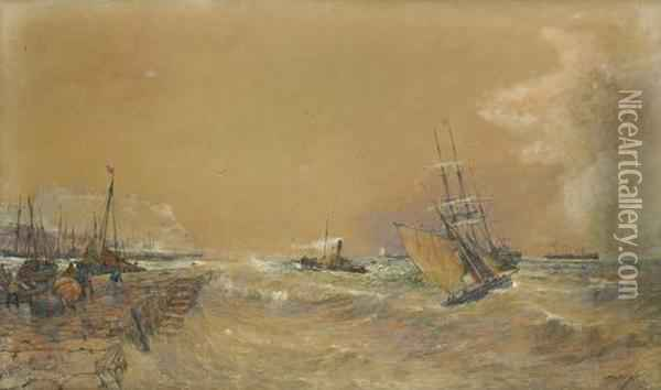 Vessels Making For Scarborough Harbour Oil Painting - Thomas Bush Hardy