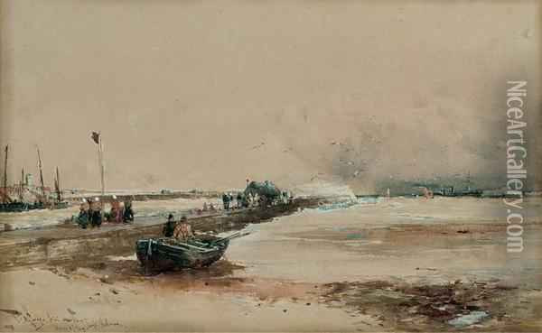 Fisherwomen Waiting On The Breakwater For The Day's Catch Oil Painting - Thomas Bush Hardy