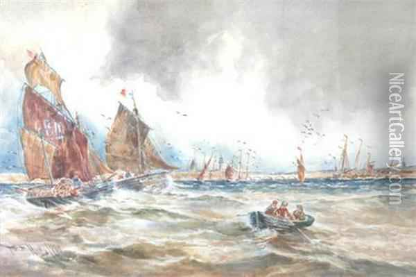 Fishing And Other Boat Off A Dutch Harbour Oil Painting - Thomas Bush Hardy