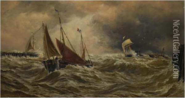 Shipping In A Storm Off Calais Harbour Oil Painting - Thomas Bush Hardy