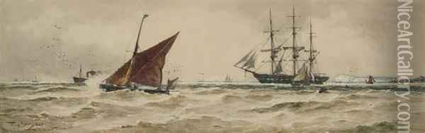 Shipping Off The South Foreland Oil Painting - Thomas Bush Hardy