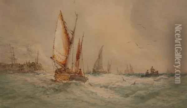 Sailing Boats Off A Harbour Oil Painting - Thomas Bush Hardy