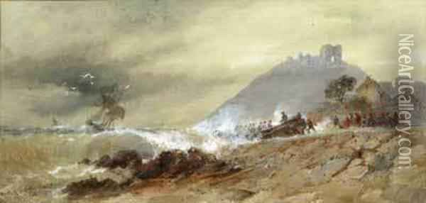 Wreck Off Criccieth, North Wales Oil Painting - Thomas Bush Hardy