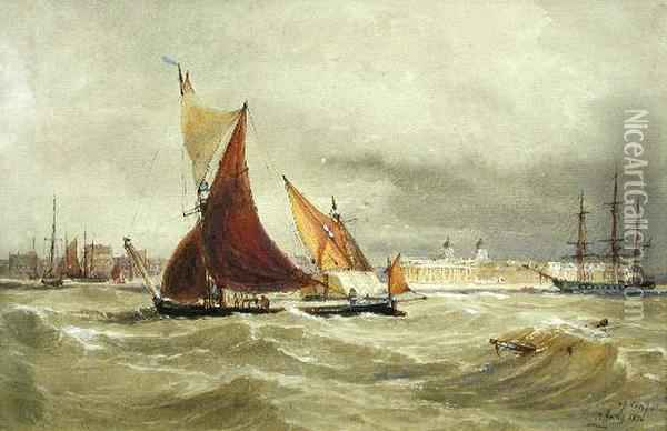 A View Of Greenwich With Sailing Ships In The Foreground Oil Painting - Thomas Bush Hardy