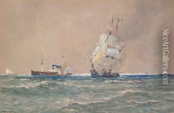 A Steam Boat And Sailing Ships Leaving Port Oil Painting - Thomas Bush Hardy