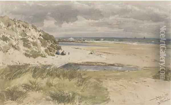 Bamborough Sands, Northumberland Oil Painting - Thomas Bush Hardy