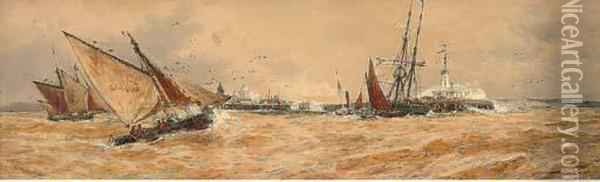 Blustery Conditions Off The Pier Oil Painting - Thomas Bush Hardy