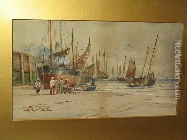 'scarborough', And 'low Tide Scarborough' Oil Painting - Thomas Bush Hardy