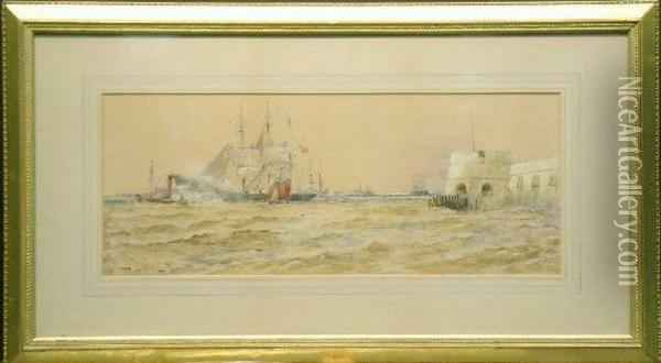 Off Portsmouth Oil Painting - Thomas Bush Hardy