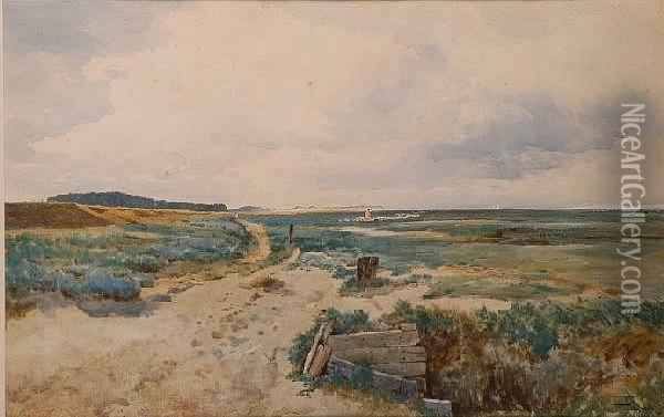 Drover And Sheep In An Extensive Coastal Landscape (possibly Wells-next-the-sea) Oil Painting - Thomas Bush Hardy