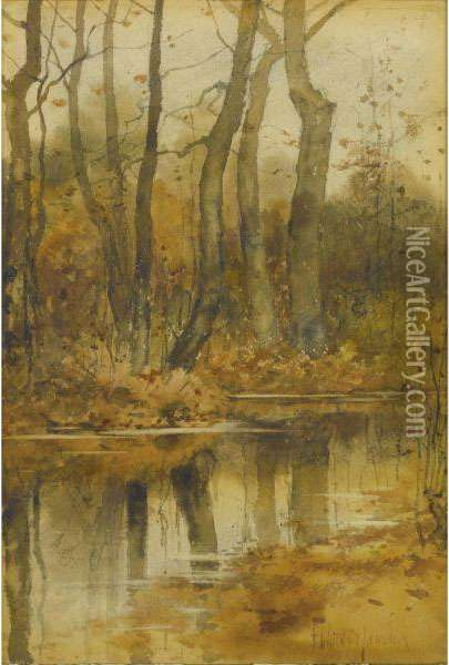 Stream In The Woods Oil Painting - Frederick Childe Hassam