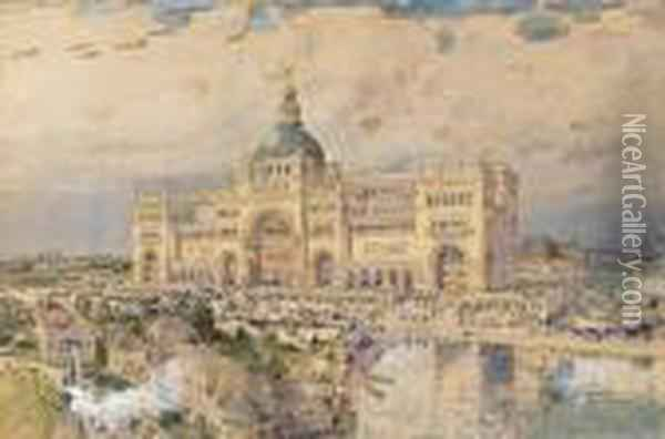 The Mackaye Spectatorium With Iowa Pavillion In Foreground, Columbian Exposition Oil Painting - Frederick Childe Hassam
