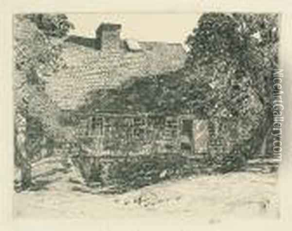 The Old Mulford House, Easthampton. Oil Painting - Frederick Childe Hassam