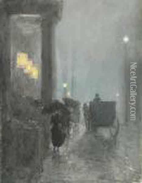 Fifth Avenue, Evening Oil Painting - Frederick Childe Hassam