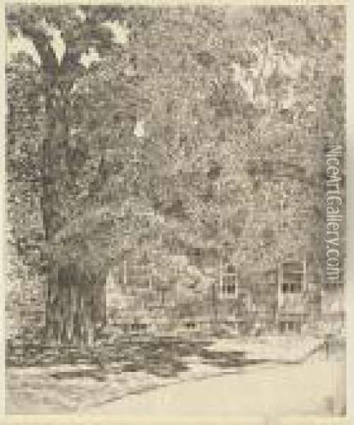 Old Mulford House; And Giant Elm, Easthampton (c./c. 264 And 326) Oil Painting - Frederick Childe Hassam