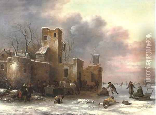 A winter landscape with figures skating outside a city wall Oil Painting - Claes Molenaar (see Molenaer)
