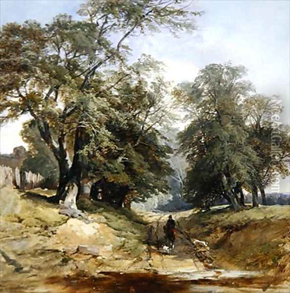 A Landscape with a Horseman 1850 Oil Painting - John Middleton