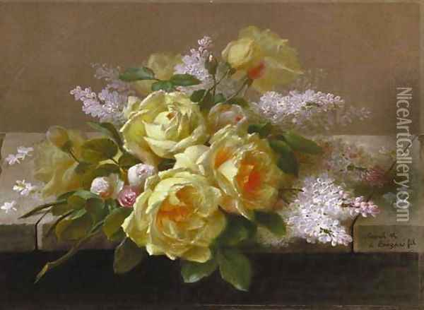 Roses and White Lilacs on a Ledge two works Oil Painting - Raoul Maucherat de Longpre