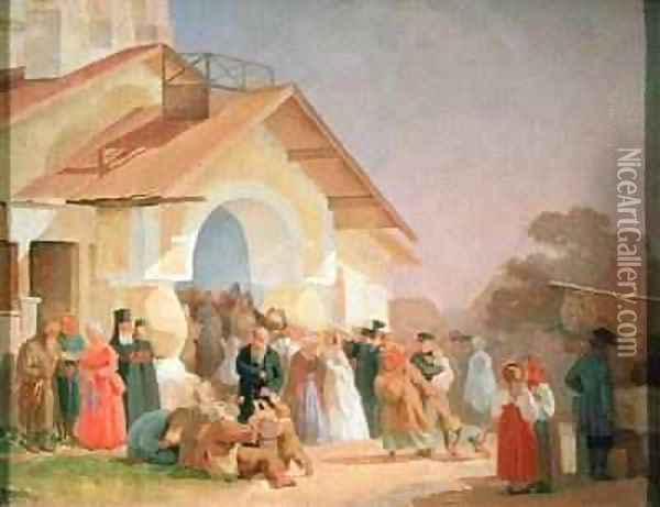 Coming out of a Church in Pskov 1863-64 Oil Painting - Aleksandr Ivanovich Morozov