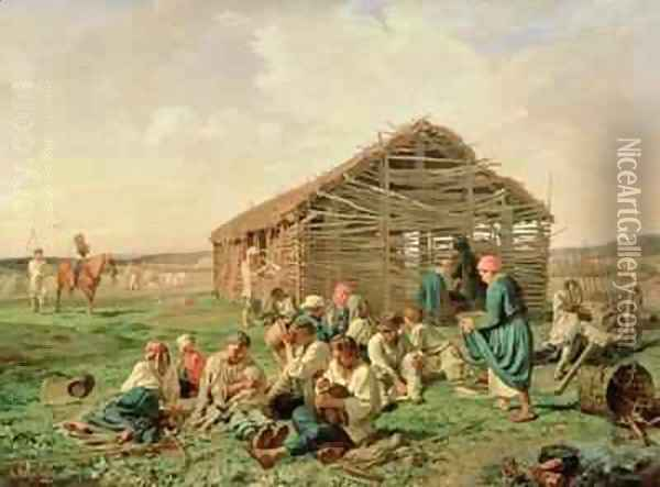 Rest during Haying 1861 Oil Painting - Aleksandr Ivanovich Morozov
