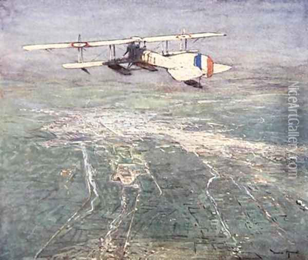 Sea plane flying over Damascus illustration from The Naval Front by Gordon S Maxwell 1920 Oil Painting - Donald Maxwell