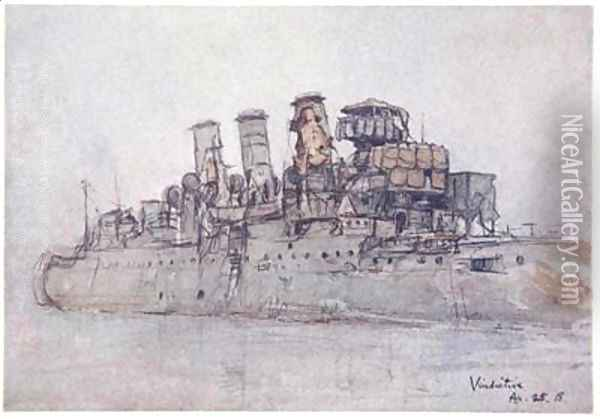 HMS Vindictive April 25th 1918 illustration from The Naval Front by Gordon S Maxwell 1920 Oil Painting - Donald Maxwell