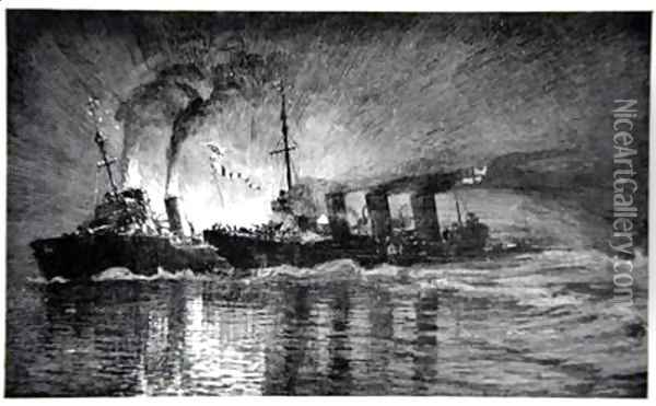 Broke ramming the German Destroyer illustration from The Naval Front by Gordon S Maxwell 1920 Oil Painting - Donald Maxwell