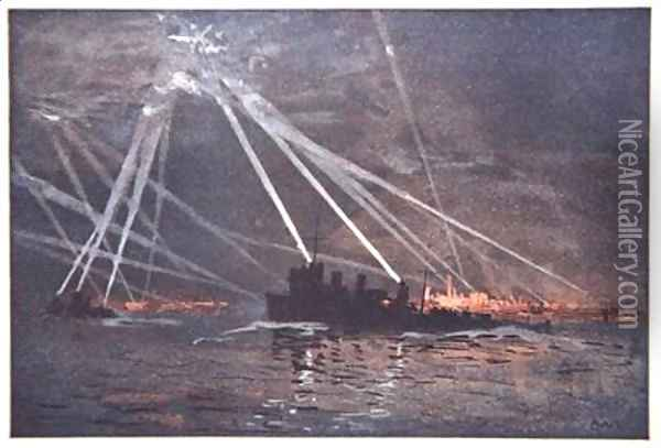 Blood and Iron An Airraid in the North illustration from The Naval Front by Gordon S Maxwell 1920 Oil Painting - Donald Maxwell